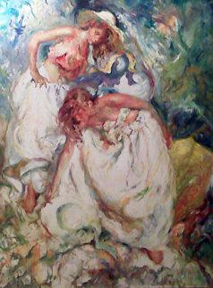 Ritmos Azules Y Blancos 36x28 Original Painting by  Royo