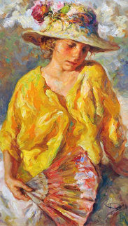 Nina Con Abanico 1980 28x22 Original Painting -  Royo