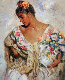 Manton De Manila Y Flores 1980 39x34 Original Painting -  Royo