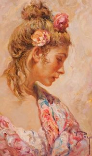 Shawl Suite of 2 Paintings: Claveles 2 And El Manton 1990 28x22 Original Painting by  Royo