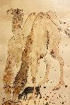 Untitled (Camels) 33x24 Original Painting - Reuven Rubin
