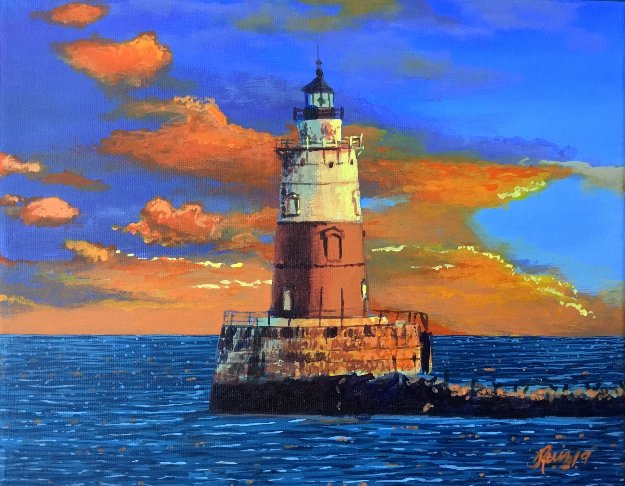 Lighthouse Sunset 2019 8x10 Original Painting by Ruben Ruiz