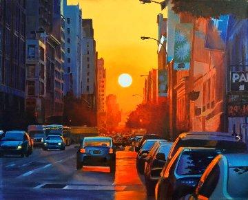 Manhattan Henge 22x27 New York Original Painting - Ruben Ruiz