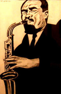 Sax Man 14x11 Works on Paper (not prints) by Jay Russell