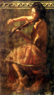Girl With Violin 1980 Embellished Limited Edition Print by Tomasz Rut