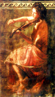 Girl With Violin 1999 Embellished Limited Edition Print - Tomasz Rut