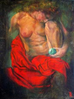 Women In Red 1997 58x37 Super Huge Original Painting - Tomasz Rut