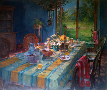 Breakfast Room 2001 35x41 Original Painting - Susan Ryder
