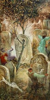 Ever Burning Tree 1994 42x22 Huge Original Painting - Vladimir Ryklin