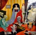 Tribute to Aubrey Beardsley 1996 48x48 Original Painting - Vladimir Ryklin
