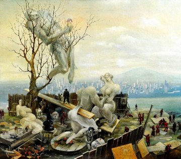 On a Backyard 1996 32x36 Original Painting - Vladimir Ryklin