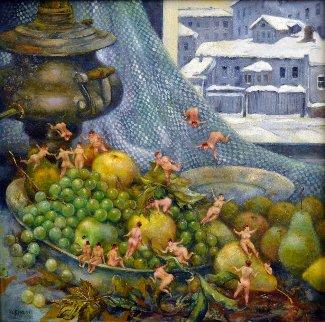 Harvest Celebration 1999 12x12 Original Painting by Vladimir Ryklin