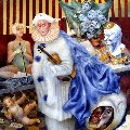 Sad Clown (Tribute to Alexander Vertinsky) 2003 20x20 Original Painting - Vladimir Ryklin