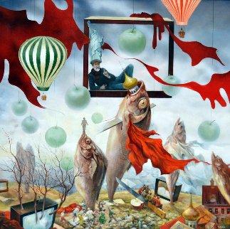 Silenced Freedom 2012 37x37 Huge Original Painting - Vladimir Ryklin