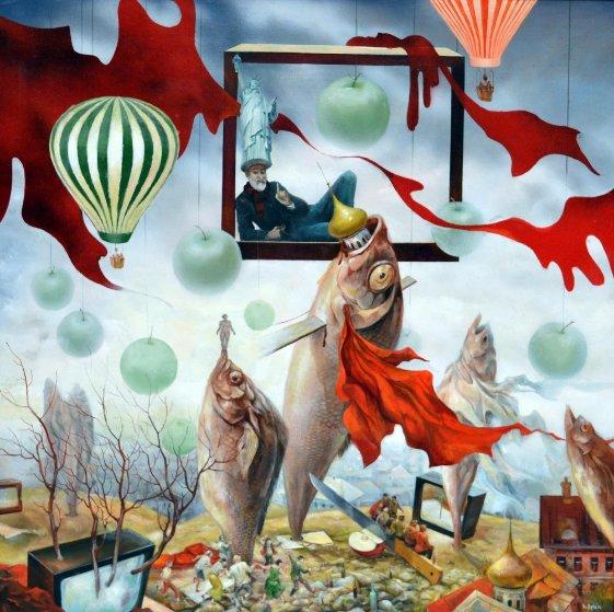 Silenced Freedom 2012 37x37 Original Painting by Vladimir Ryklin
