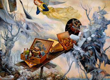 Keep Them Safe!: Immigrant Series 1996 34x44 Huge Original Painting - Vladimir Ryklin