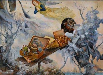 Keep Them Safe! Immigrant Series 1996 34x44 Original Painting by Vladimir Ryklin
