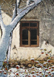 Thistles in the Snow 1996 38x27 Original Painting - Alireza Sadaghdar