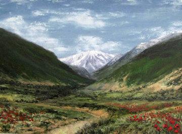 Journey to the Mountain 1996 22x30 Original Painting - Alireza Sadaghdar