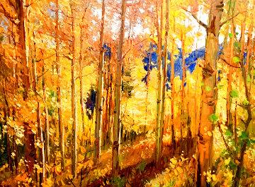 Sunlight Through the Aspens 2007 43x33 Huge  Original Painting - Don Sahli