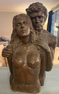 Los Amantes Unique Bronze Sculpture 1972 25x16 Sculpture by Victor Salmones
