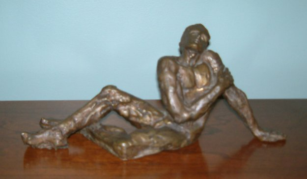 Dreamer (Sonador) Bronze Sculpture 1970 13 in Sculpture by Victor Salmones