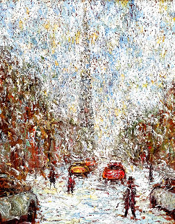 Rue  St. Denis 1997 40x34 Super Huge Original Painting - Samir Sammoun