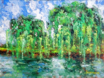 Twin Weeping Willows 2001 21x17 Signed Twice Original Painting - Samir Sammoun