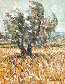 Olive Grove 2001 21x17 Signed Twice  Original Painting - Samir Sammoun