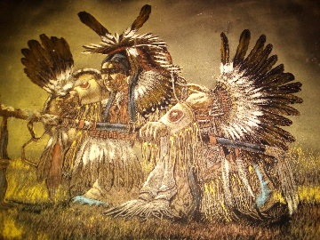 American Indian Medicine Man 24x36 Original Painting - Ernesto Sanchez