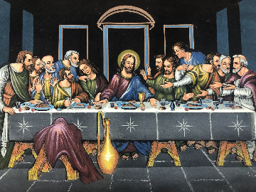 Last Supper 27x39 Original Painting - Ernesto Sanchez