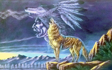 Wolf Howling At the Moon With a Spirit Chief Ghost Above Its Head 1970   - Ernesto Sanchez
