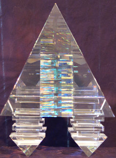 Suspended Pyramid Glass Sculpture 2003 12 in Sculpture - Toland Sand