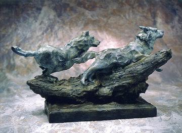 Chase Wolves Bronze Sculpture 2000 22 in Sculpture - Sherry Sander