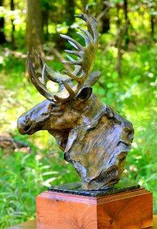 Moose Study Bronze Sculpture 1988 20 in Sculpture - Sherry Sander