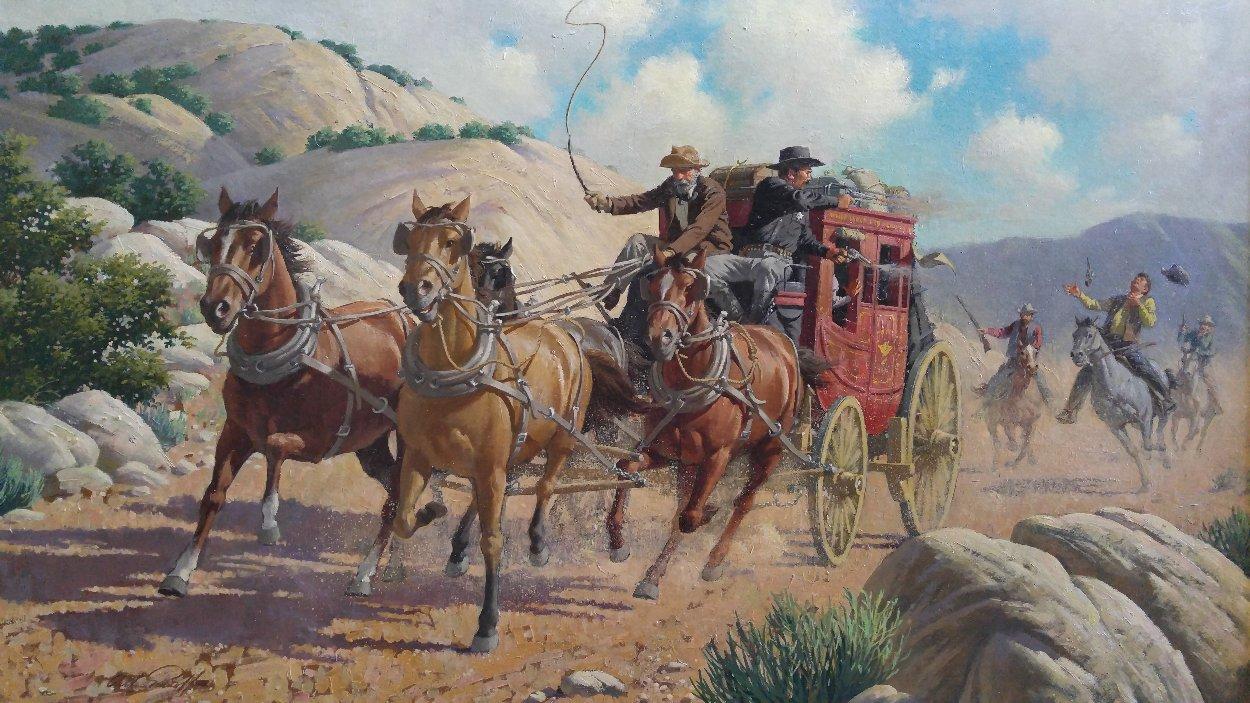 Stagecoach Robbery 34x46 Original Painting by Arthur Sarnoff