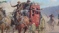Stagecoach Robbery 34x46 Original Painting by Arthur Sarnoff - 4