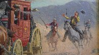 Stagecoach Robbery 34x46 Original Painting by Arthur Sarnoff - 8