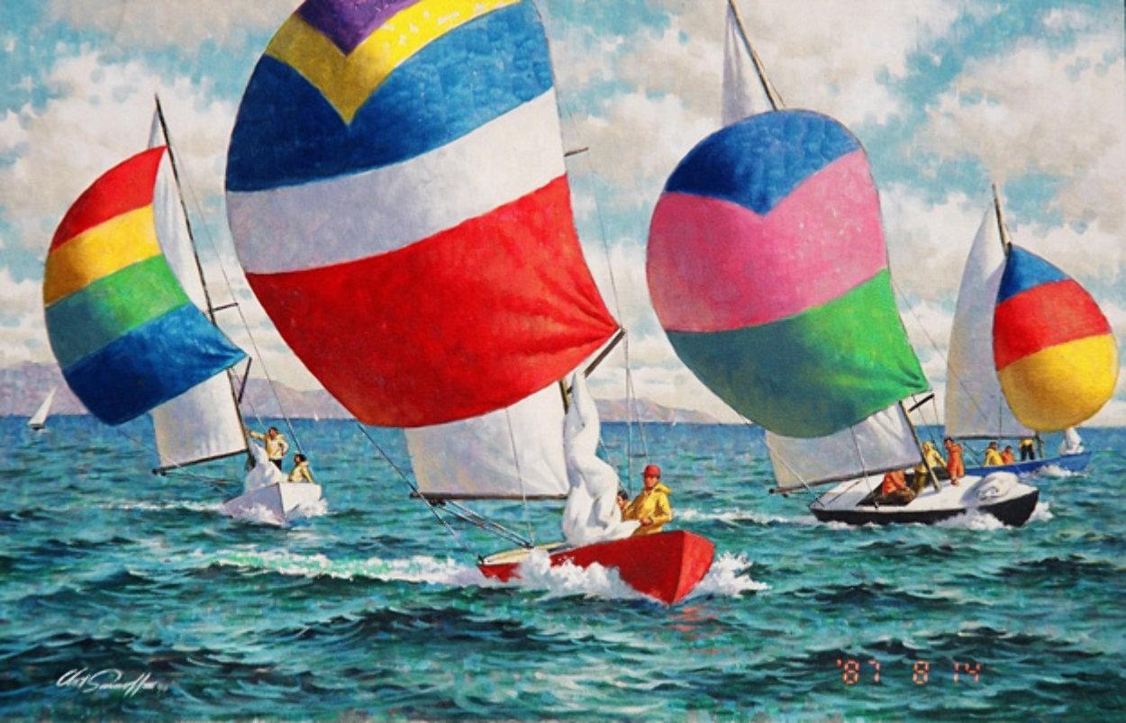 Sail Race 1980 24x36 Original Painting by Arthur Sarnoff
