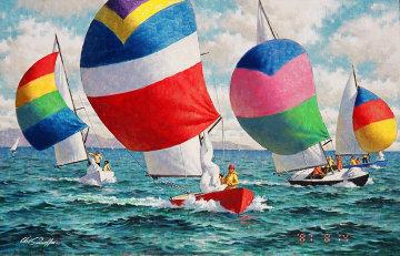 Sail Race 1980 24x36 Original Painting - Arthur Sarnoff