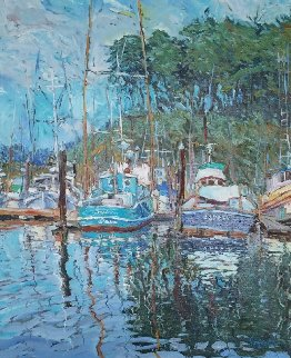 River Reflections 1983 41x36 Original Painting - Marco Sassone