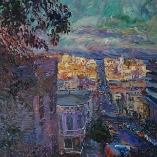 View From Green 1982 50x50 Original Painting - Marco Sassone
