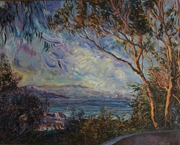 View From Coit Tower II (San Francisco) 1985 50x62 Super Huge Original Painting - Marco Sassone