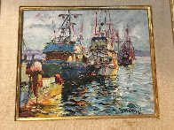 Fishing Boats 1978 17x20 (Early) Original Painting by Marco Sassone - 1