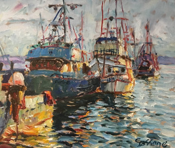 Fishing Boats 1978 17x20 (Early) Original Painting - Marco Sassone