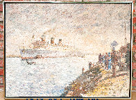 Untitled Painting  (The Queen Mary) 1969 35x45 Huge - Early  Original Painting by Marco Sassone - 1