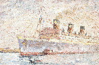 Untitled Painting  (The Queen Mary) 1969 35x45 Huge - Early  Original Painting by Marco Sassone - 4