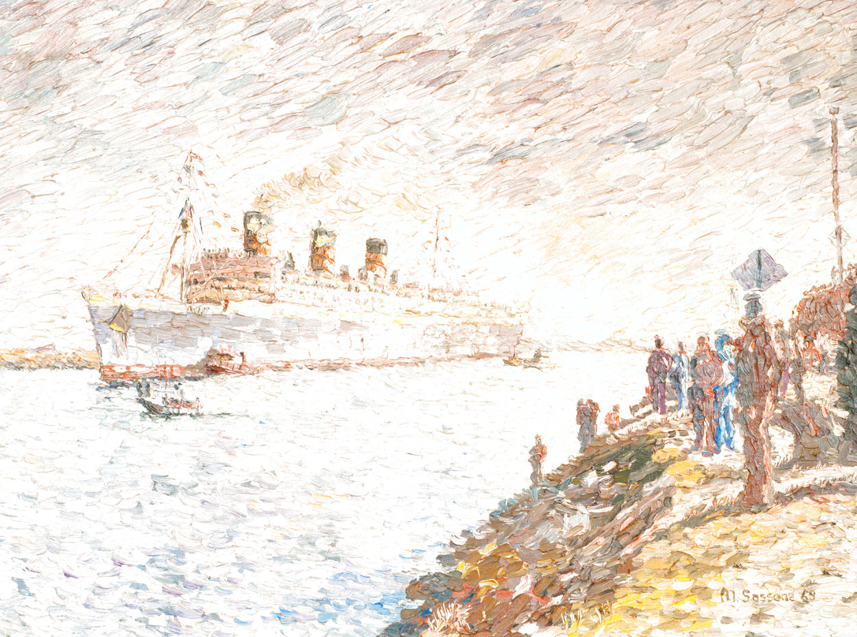 Untitled Painting  (The Queen Mary) 1969 35x45 Huge - Early  Original Painting by Marco Sassone