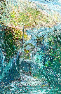 Verso in Mare 1999 (Early) 62x42 Huge Original Painting - Marco Sassone
