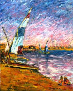 Children at Seashore 1970 30x24 Original Painting by Marco Sassone